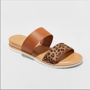 LEOPARD SANDALS LOW WEDGE HEEL A NEW DAY 2 STRAP 7